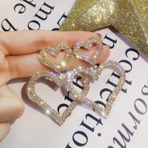 3/$20 New Gold & Silver Rhinestone Heart Earrings